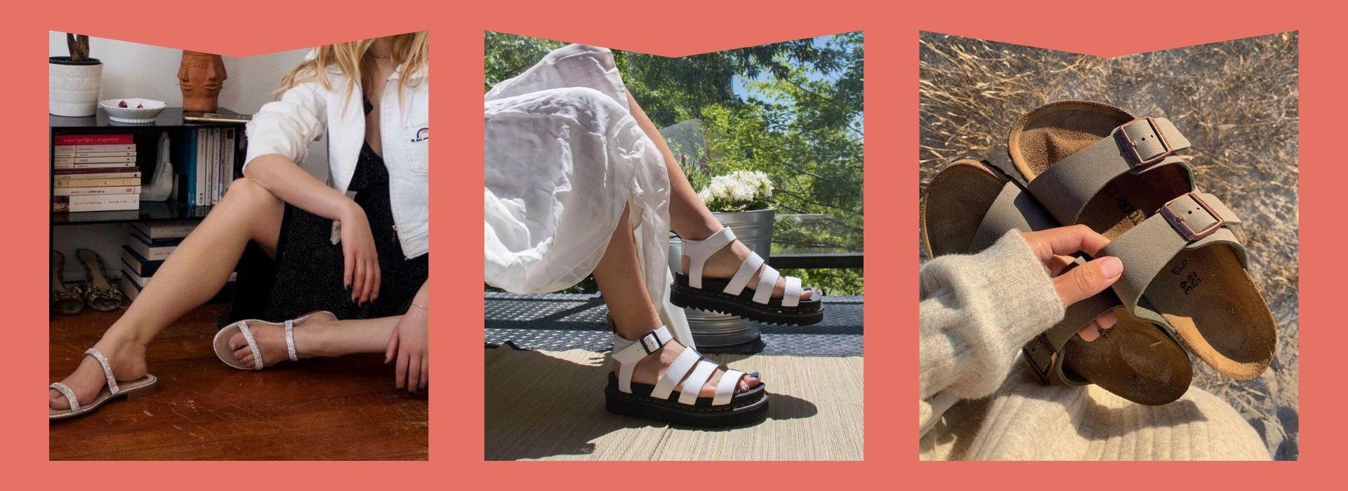 White flat shoes, platforms, birkenstocks