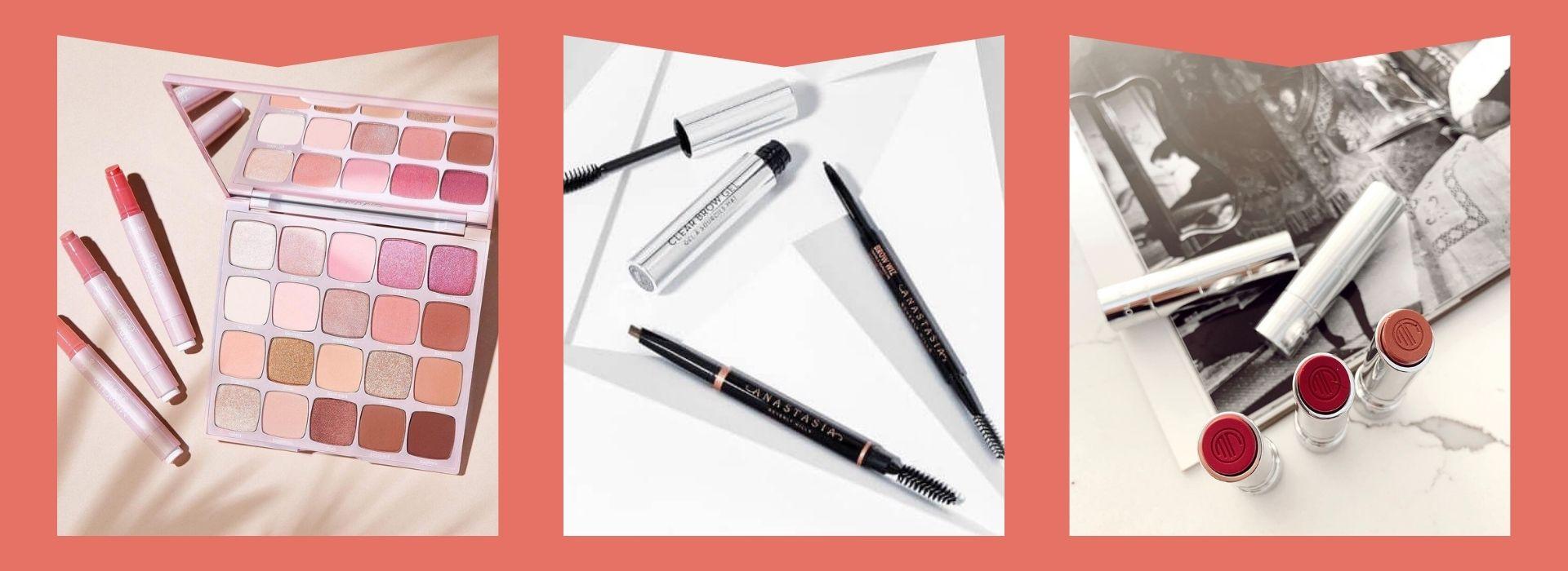 Eyeshadow palette, eyebrow pencil, lipstick