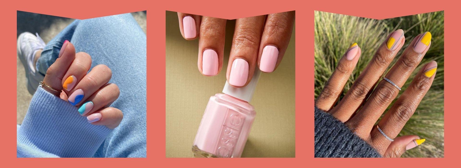 Nail polish inspo, pink nails, yellow nails