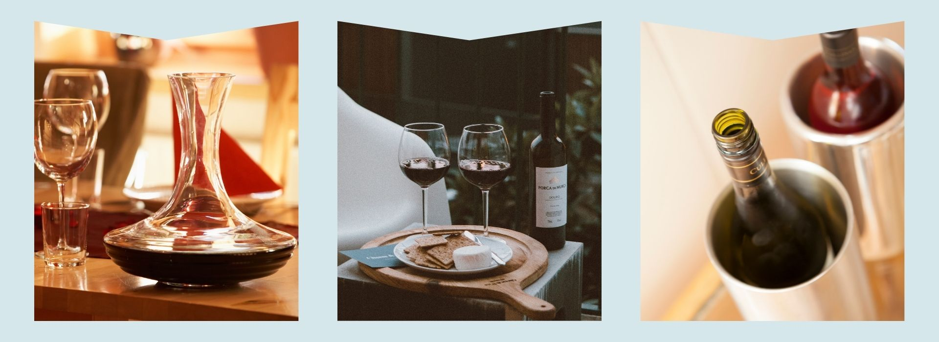 wine glasses, wine decanter, wine chiller