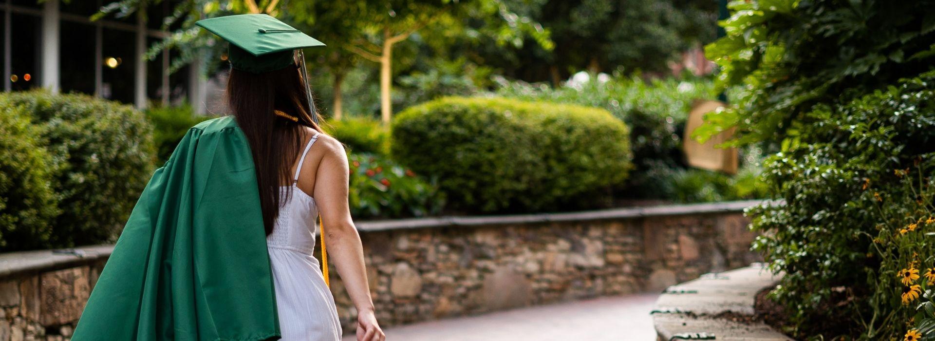 Woman wearing a grad gown