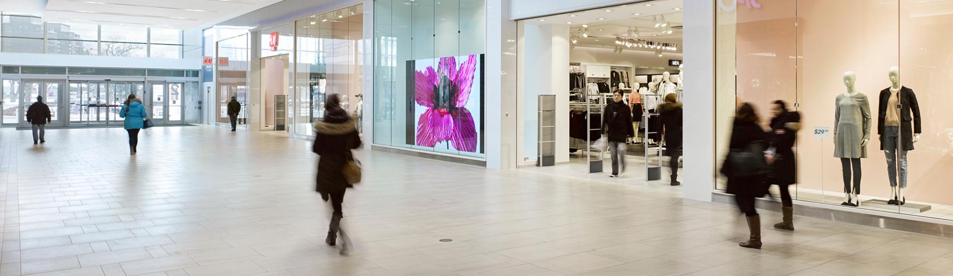 Crowds walking through H&M