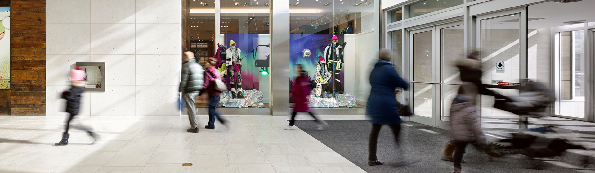 People walking throughout the centre