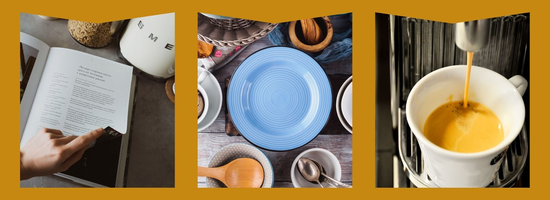 Cooking book, plates, nespresso machine