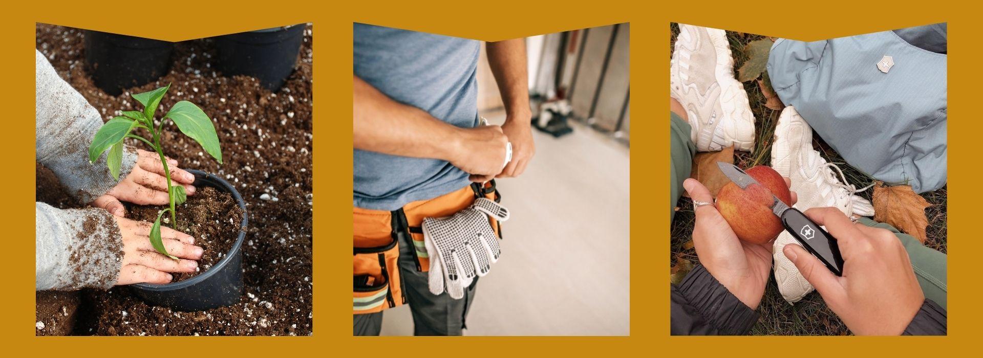 Gardening tools, tool belt, swiss army knife