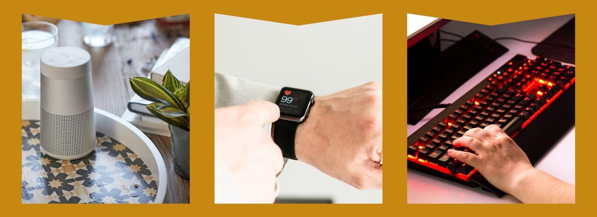 Wireless speakers, smart watch, gaming keyboard