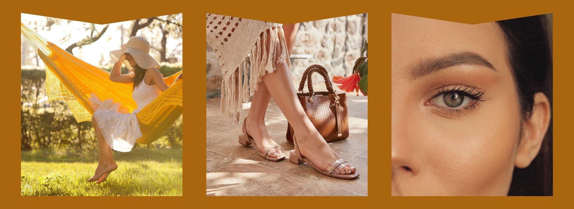 Flowy dress, sandals, mascara
