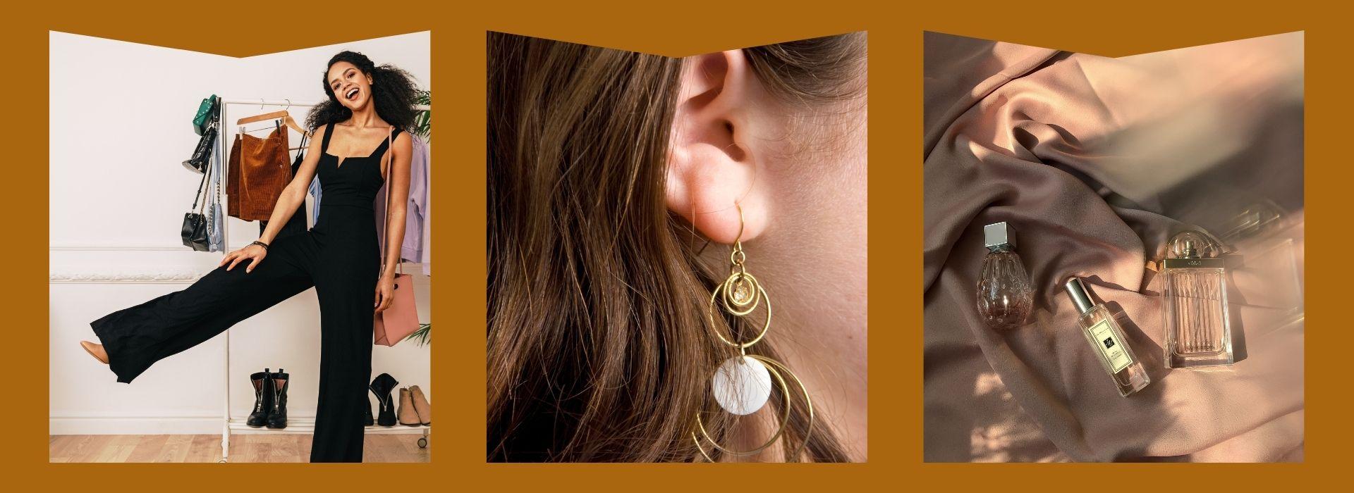 Jumpsuit, earrings, perfume