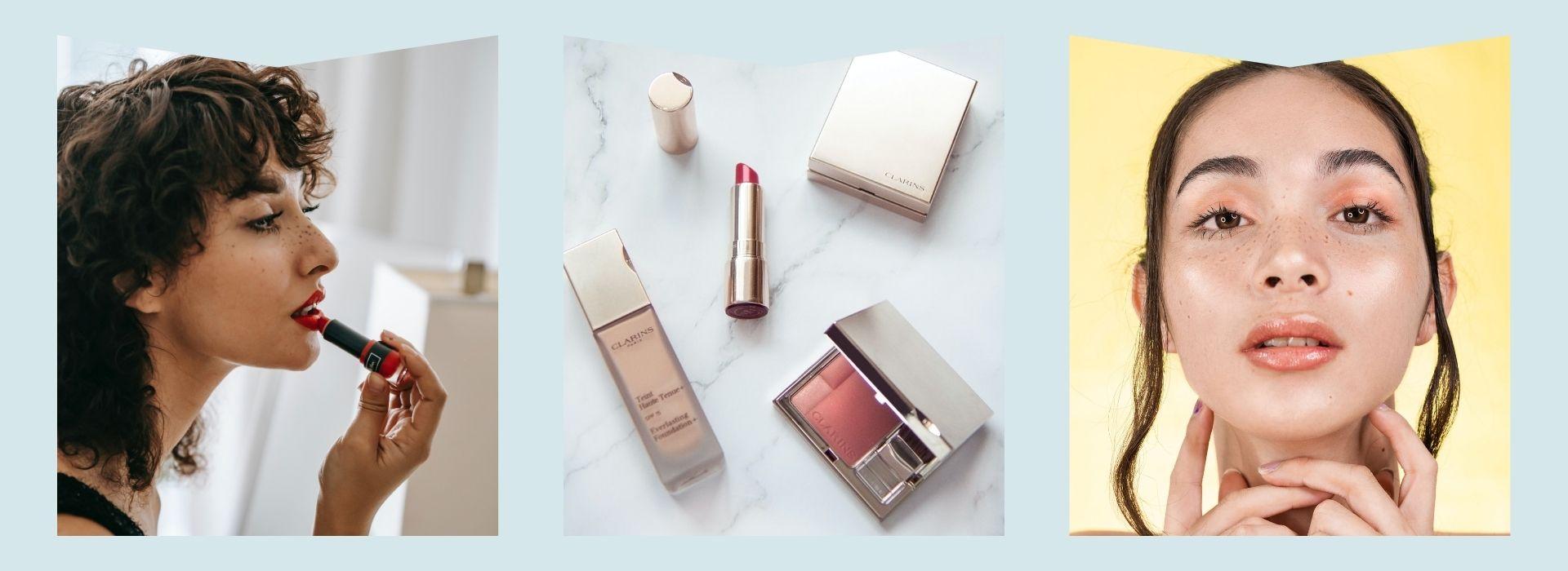 Berry lipstick, pastel makeup, glowy skin