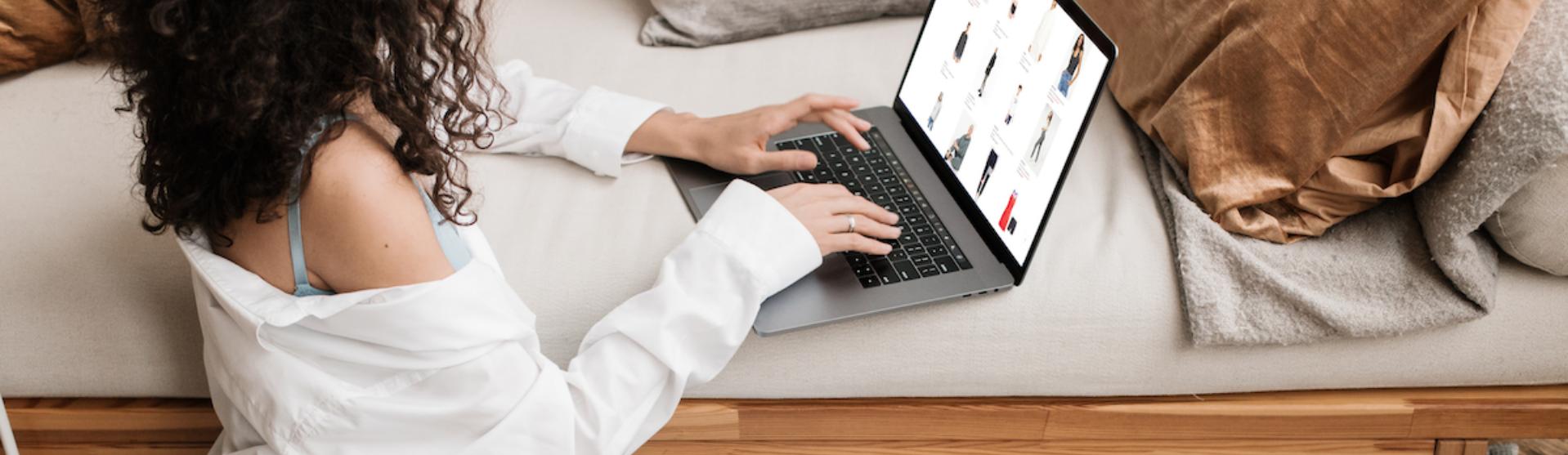 Girl shopping online on her laptop