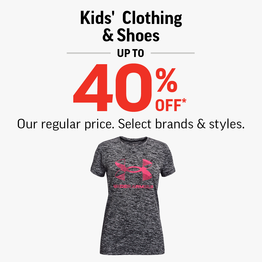 kids' grey underarmour tshirt