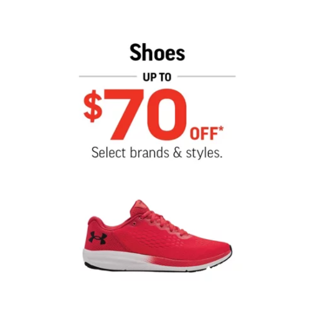 shoes up to $70 off picture of a red sneaker