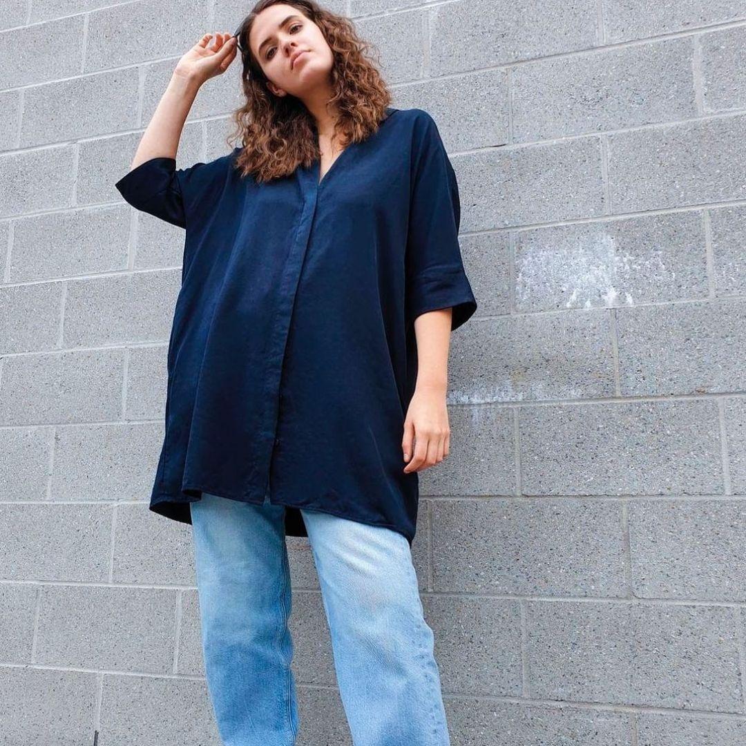 Blue oversized Shirt dress