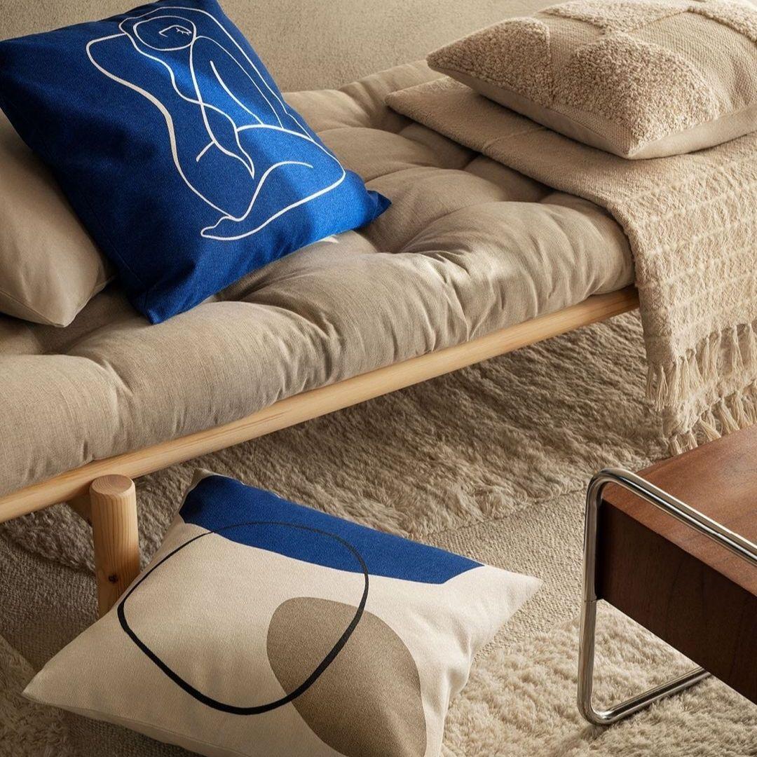 Blue graphic accent pillow