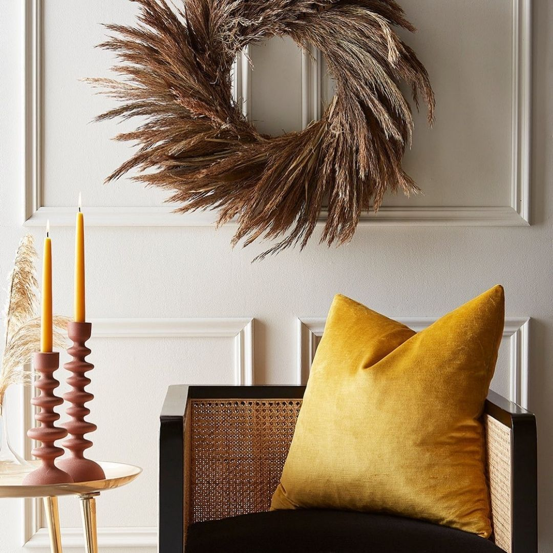 Yellow accent pillow