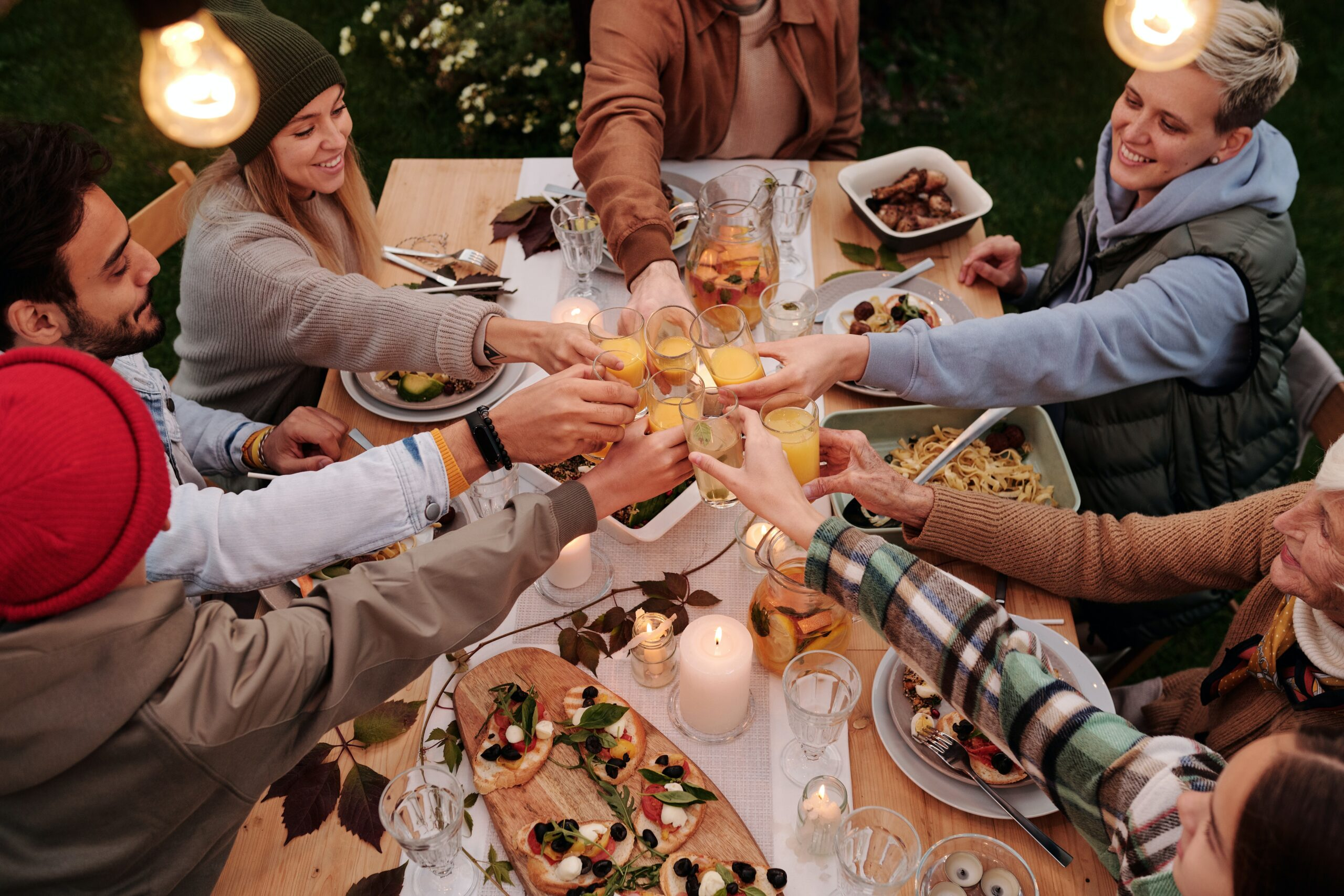 Table of people drinking wine